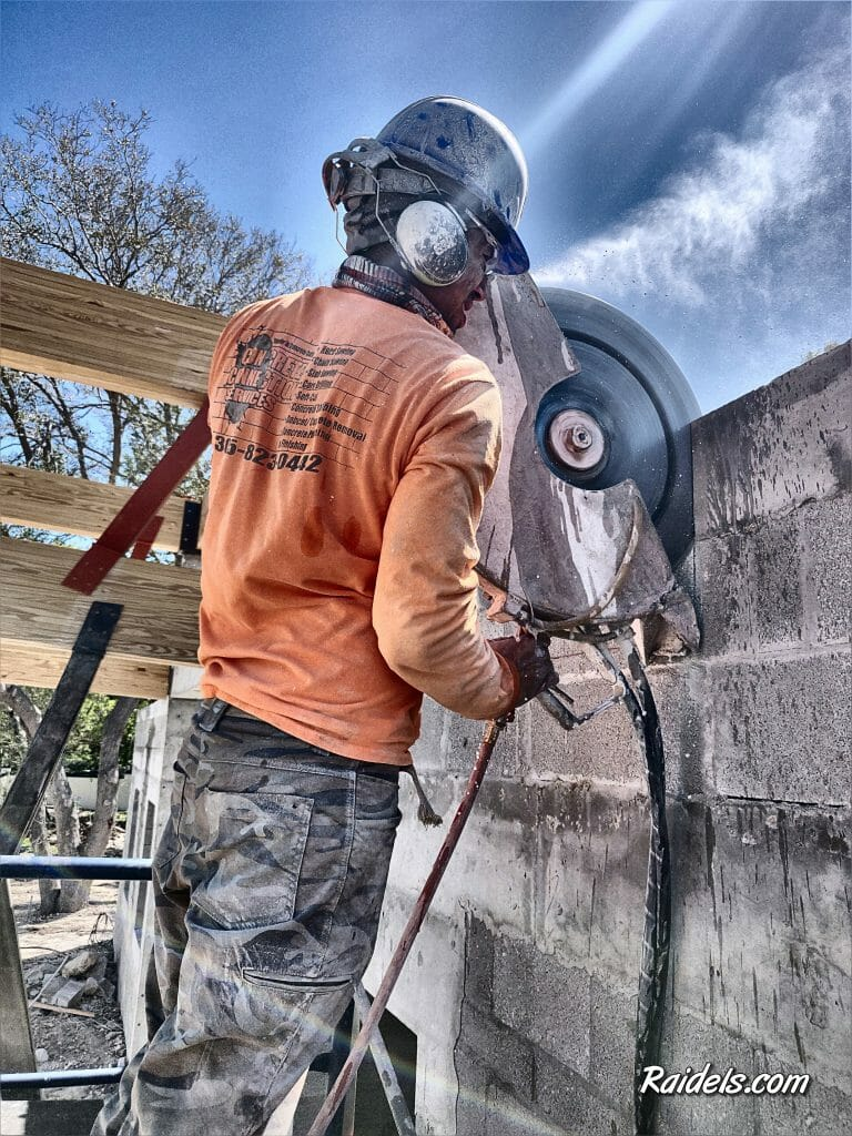 Handsawing a scupper hole