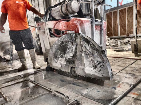 Cutting thick slab