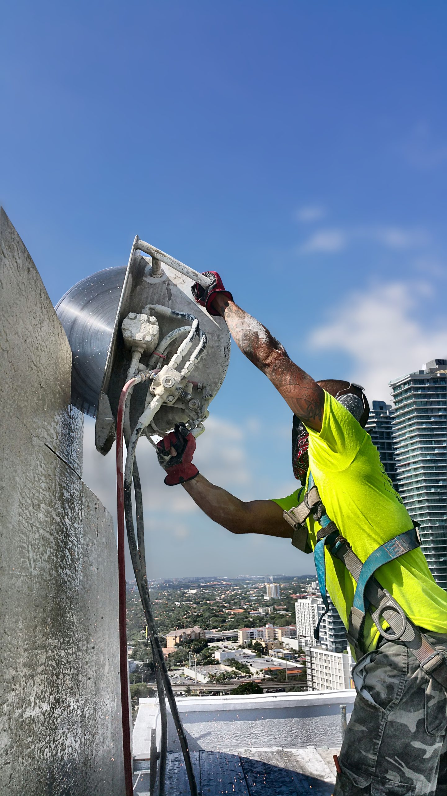 Cutting walls on the roof of the Fortune House Hotel in Brickell.