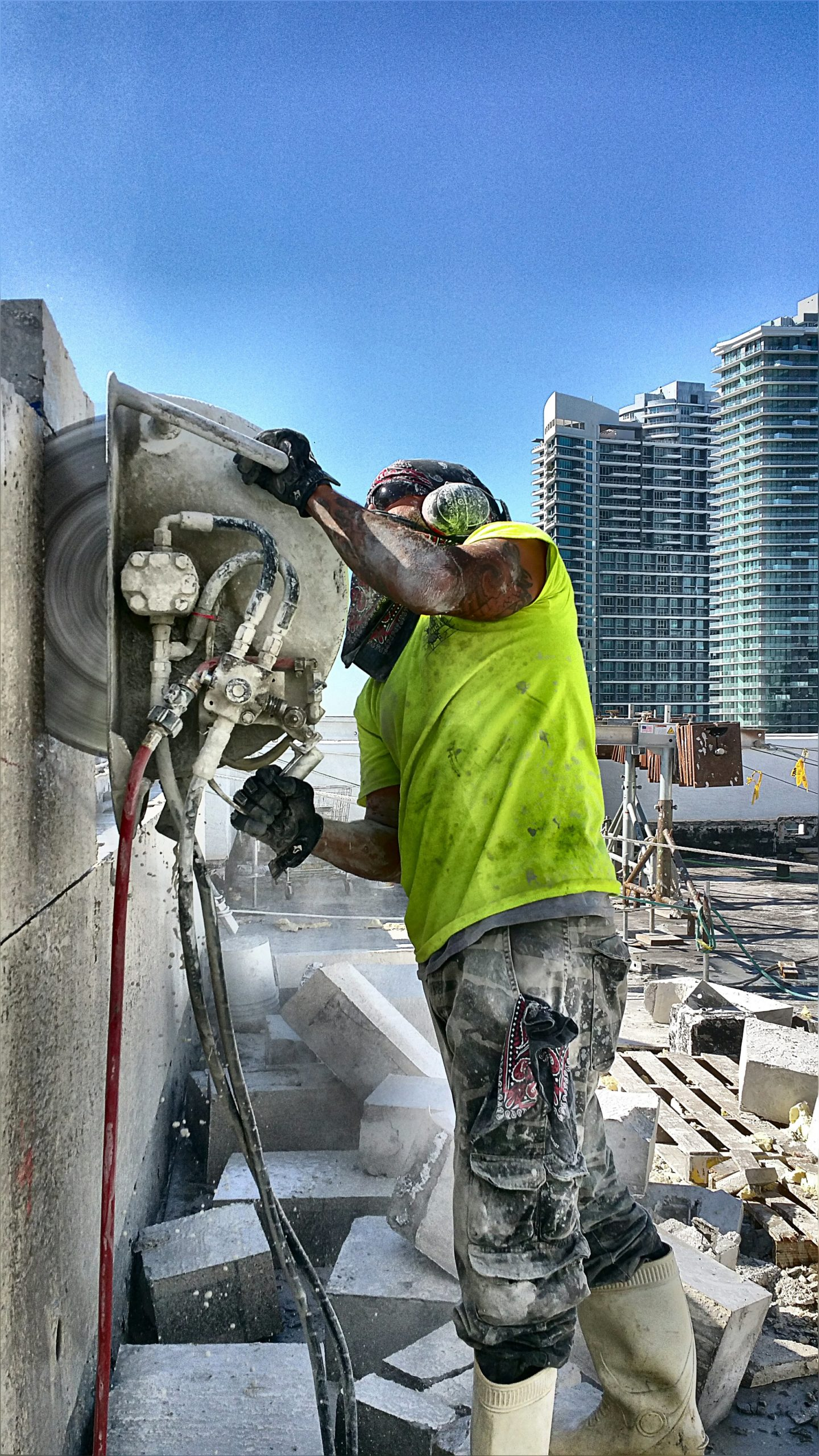Cutting a wall on a roof of a hotel in Brickell.